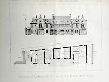 vintage print /gravure 1889 Ecuries et Remises à Lille ( architecture )