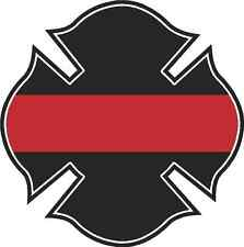 "5"" Firefighters Cross Rescue IAFF Firefighter Thin RED Line Flag Sticker"