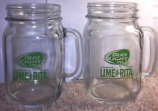 Bud Light Lime-A-Rita Mason Jar Glasses Set Of 2 with Handles ~ Excellent