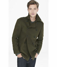 NEW EXPRESS $278 OLIVE DOUBLE BREASTED WOOL BLEND MILITARY PEACOAT COAT SZ M