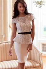 LIPSY VIP WHITE SKIRT LACE PEPLUM TOP SHIFT DRESS SIZE 12 *NEARLY NEW*