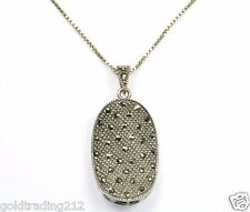 VINTAGE OVAL CONVEX MARCASITE PENDANT NECKLACE 16 IN 925 STERLING NC 50