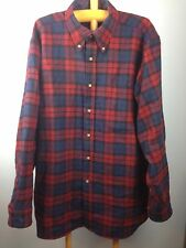 VTG Mens L Pendleton Flannel Shirt Mac Devitt Tartan Plaid Red Blue Made in USA