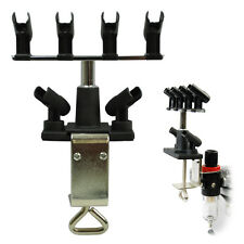 AIRBRUSH HOLDER Holds 6 Clamp-On Mount Table Bench Station Regulator Stand Kit