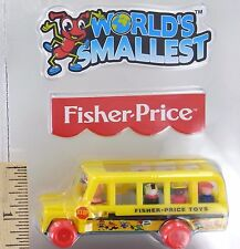 World's Smallest Fisher-Price SCHOOL BUS Toy Miniature Doll Mini Little People