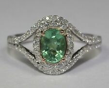 14k White Gold Oval Green Emerald And White Round Diamond 1.25ct Ring Size 5