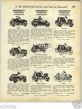 1925 PAPER AD American National Pedal Car Ace Overland Durant Buick Circus Truck