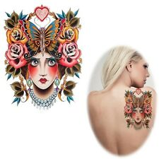 Beautiful Butterfly Flower-Crown Girl Einmal Tattoo 18,5x11cm wasserfest(AX65)