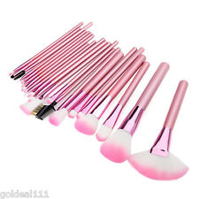 NEW 22 pcs Professional Makeup Soft Cosmetic Brush Set Pink + Soft Leather Bag *