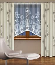 Modern, jacquard set net window curtains with curtain tape WHITE/LINEN