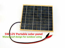 5W 12V Portable Solar Panel W/ Battery Clips 5 Watt Epoxy Resin Solar Module