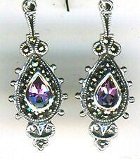 """925 Sterling Silver Amethyst & Marcasite Drop / Dangle Earrings Lgth 1.1/2"""" 40mm"""