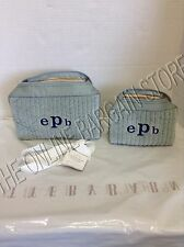 2 Pottery Barn Quilted Velvet Silk Travel Bath Cosmetic Makeup Bag Porcelain Blu