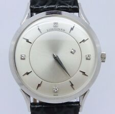 VINTAGE Longines 14k White Gold Diamond Mystery Dial Mens Dress Watch = MINT =