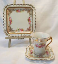 Royal Scotland Reticulated China Trio Square Salad Plate Cup & Saucer Roses