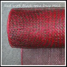 Deco Mesh Red Black 21 inches by 10 yards - Christmas - UK