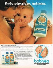 PUBLICITE ADVERTISING 045  1982  BABIVEA  lait de toilette bébé