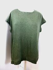 Matty M Womens Short Sleeve Loose Fitting Shirt Olive Green US Size L NWT