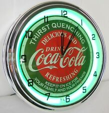 "Coca Cola 15"" Neon Lighted Wall Clock Night Light Soda Bottle Classic Distressed"