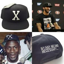 Malcolm X Hat BHM Snapback Kaepernick X Logo (BY ANY MEANS NECESSARY) Vtg Retro