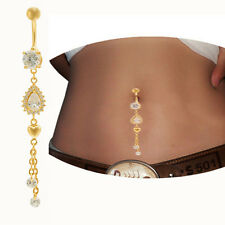 Gold Tassel Dangle Crystal Belly Bar Button Navel Ring Body Piercing Jewelry Hot