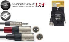 Audiokabel 3m - 3,5er Klinke auf 2 x XLR male - Anschlußkabel für Laptop ,Handy