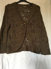 "WOMENS ""TU"" LIGHT BROWN OPEN-WORK CARDIGAN - SIZE 20 - GOOD CONDITION !!!"