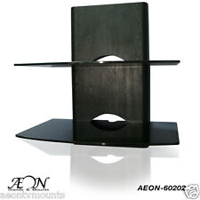 Component Shelf Mount with Wood Grain and Two Large Glass Shelves AEON-60202