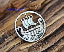 Silberbrosche Wikinger Drachenboot,Gewandschließe, 925 Silber,Kelten,Viking
