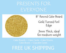 """2 x 8"""" Inch Round Gold Cake Board 3mm FREE SHIPPING"""
