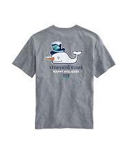 *NWT VINEYARD VINES Snowman Whale Heather Pocket T-Shirt! Super soft cotton SZ-L