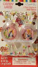 2pc CANDYLAND Lip Gloss + Body Tattoos Set/Lot CANDY SHAPED+SHIMMER+FAIRY+MORE
