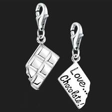 925 Sterling Silver Chocolate Bar Clip on Charms for Charm Bracelets 3D Bracelet