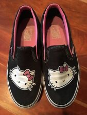 Vans Black Pink Hello Kitty Slip On Shoes, Size 8.5