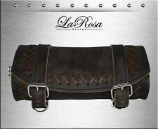 LaRosa Harley Softail Sportster Dyna Rustic Black Leather Cross Lace Tool Bag