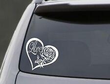 "LOVE HEART ROSE Vinyl Decal Sticker Car Window Wall Bumper Laptop Symbol 6"""