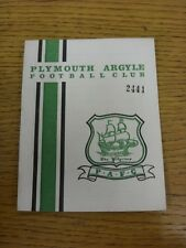 04/11/1967 Plymouth Argyle v Blackpool  . Thanks for viewing our item, when list