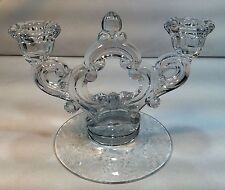 Vintage CAMBRIDGE Glass WILDFLOWER Etched Base 2 Lite Keyhole Candle Holder