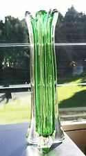 Vintage Murano Glass Green Sommerso Lobed 4 Sided Vase 12.5 inches high c.1950's