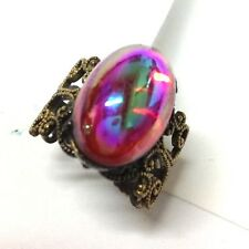 New 1960's Pearly RED RUBY Stone Gold Tone DESIGNER Kim Craftsmen Ring
