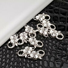 10pcs Antique Tibetan Silver Flower Lobster Clasp DIY Jewelry Findings 25mm NEW