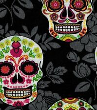 Decorative Skulls on Black Floral Cotton Fabric ~ by the HALF YARD