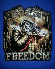 Skull Soldier Freedom Sniper Patch, Large 10''x11'' Extraordinarily fine  Detail