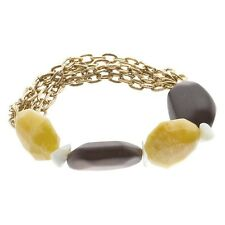 Beige Quartz Stone Brown Wood Bead Jewelry Gold Multi-Chain Stretch Bracelet