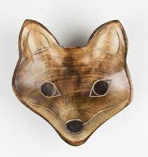 Sass & Belle Shabby Chic Rustic Wooden Fox Carved Bowl 15x14x2cm