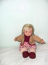 GI-GO TOYS Happy Face Doll 11' Blond Hair Braids Laughing Working Condition