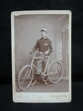 1800's Cabinet Photo Man w/ Bicycle Whitney's Point, New York Antique