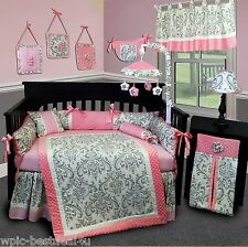 Baby Boutique - Grey Damask - 14 pcs Crib Bedding Set incl. Music Mobile