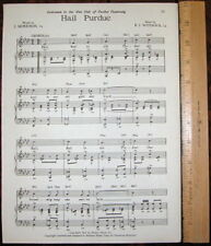"PURDUE UNIVERSITY Vintage Song Sheet c1945 ""Hail Purdue"""