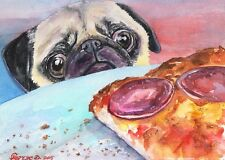 Pug and pizza watercolor Print of the Original Watercolor Painting art dog funn